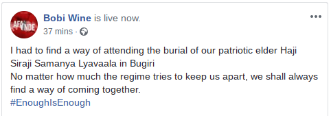 Bobi wine's Facebook Post