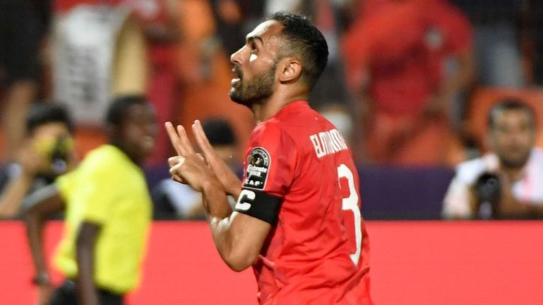 Ahmed Elmohamady celebrating after scoring for Egypt