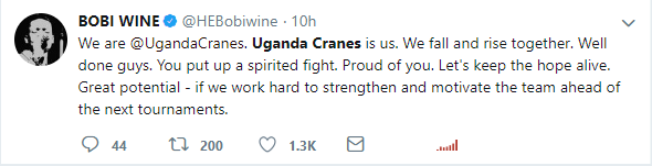 Bobi wine's Tweet