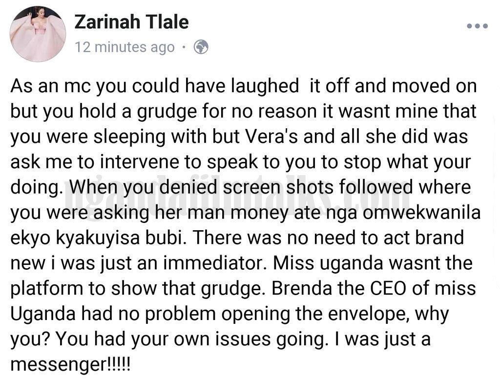 Zari's facebook post