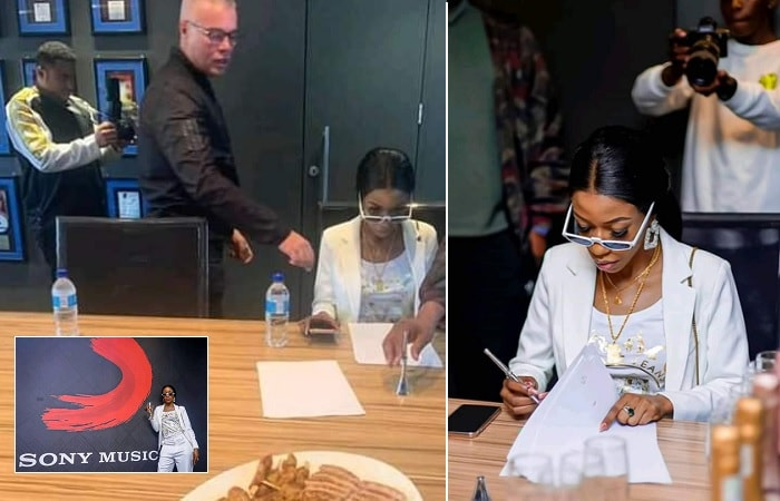 Vinka signing the Sony contract