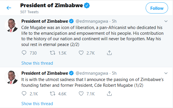 President of Zimbabwe tweets