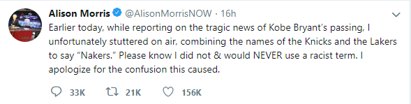 Alison Morris's Tweet Apologizing